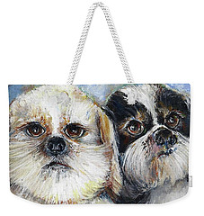 Weekender Tote Bag featuring the painting Trouble And Lexi by Bernadette Krupa