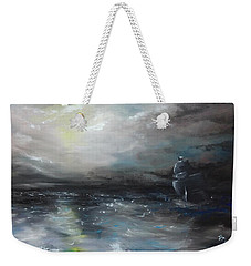 Weekender Tote Bag featuring the painting Troubled Waters by Isabella F Abbie Shores FRSA