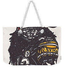 Weekender Tote Bag featuring the drawing Troy Polomalu 1 by Jeremiah Colley