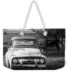 Truck And Cows Living Together Bw Weekender Tote Bag