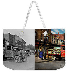 Weekender Tote Bag featuring the photograph Truck - Home Dressed Poultry 1926 - Side By Side by Mike Savad