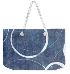 Weekender Tote Bag featuring the painting True Blue Ensos by Julie Niemela