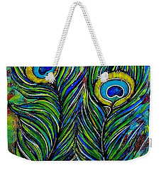 Weekender Tote Bag featuring the mixed media True Colors by Julie Hoyle