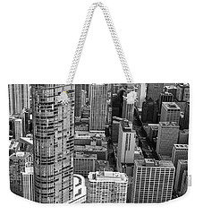 Weekender Tote Bag featuring the photograph Trump Tower And John Hancock Aerial Black And White by Adam Romanowicz