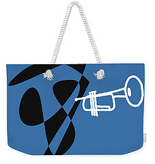 Weekender Tote Bag featuring the digital art Trumpet In Blue by Jazz DaBri