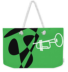 Weekender Tote Bag featuring the digital art Trumpet In Green by Jazz DaBri