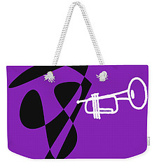 Weekender Tote Bag featuring the digital art Trumpet In Purple by Jazz DaBri