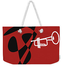 Weekender Tote Bag featuring the digital art Trumpet In Orange Red by Jazz DaBri