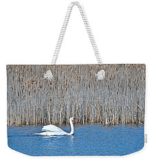 Weekender Tote Bag featuring the photograph Trumpeter Swan 0967 by Michael Peychich