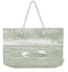Weekender Tote Bag featuring the photograph Trumpeter Swan's Winter Rest Green by Jennie Marie Schell