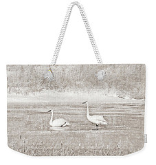 Weekender Tote Bag featuring the photograph Trumpeter Swan's Winter Rest Beige by Jennie Marie Schell