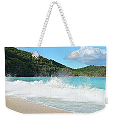 Weekender Tote Bag featuring the photograph Trunk Bay Waves Crash Hard by Frozen in Time Fine Art Photography