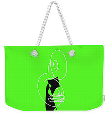 Weekender Tote Bag featuring the digital art Tuba In Green by Jazz DaBri