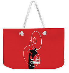 Weekender Tote Bag featuring the digital art Tuba In Red by Jazz DaBri