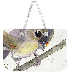 Weekender Tote Bag featuring the painting Tufted Titmouse by Dawn Derman