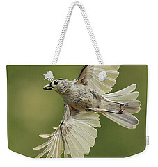 Tufted Titmouse In Flight Weekender Tote Bag by Alan Lenk