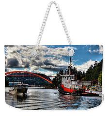 Tugboat At The Rainbow Bridge Weekender Tote Bag by David Patterson