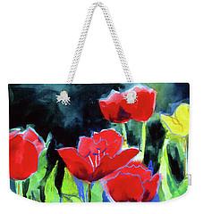 Weekender Tote Bag featuring the painting Tulip Bed At Dark by Kathy Braud