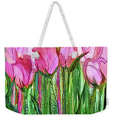 Weekender Tote Bag featuring the mixed media Tulip Bloomies 1 - Pink by Carol Cavalaris