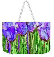 Weekender Tote Bag featuring the mixed media Tulip Bloomies 1 - Purple by Carol Cavalaris