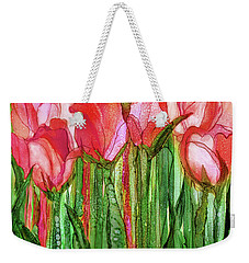 Weekender Tote Bag featuring the mixed media Tulip Bloomies 1 - Red by Carol Cavalaris