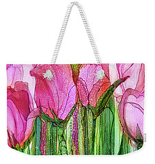 Weekender Tote Bag featuring the mixed media Tulip Bloomies 2 - Pink by Carol Cavalaris