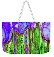 Weekender Tote Bag featuring the mixed media Tulip Bloomies 2 - Purple by Carol Cavalaris