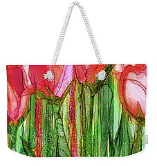 Weekender Tote Bag featuring the mixed media Tulip Bloomies 2 - Red by Carol Cavalaris