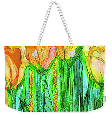 Weekender Tote Bag featuring the mixed media Tulip Bloomies 2 - Yellow by Carol Cavalaris