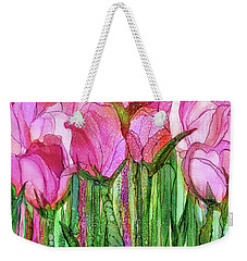 Weekender Tote Bag featuring the mixed media Tulip Bloomies 3 - Pink by Carol Cavalaris