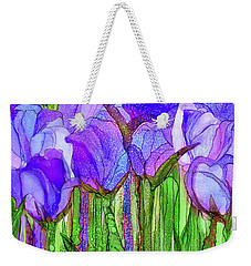 Weekender Tote Bag featuring the mixed media Tulip Bloomies 3 - Purple by Carol Cavalaris