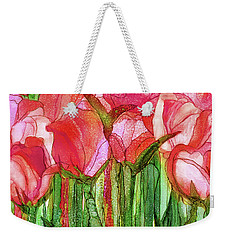 Weekender Tote Bag featuring the mixed media Tulip Bloomies 3 - Red by Carol Cavalaris