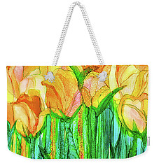 Weekender Tote Bag featuring the mixed media Tulip Bloomies 3 - Yellow by Carol Cavalaris