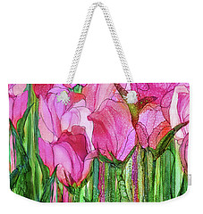 Weekender Tote Bag featuring the mixed media Tulip Bloomies 4 - Pink by Carol Cavalaris
