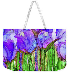Weekender Tote Bag featuring the mixed media Tulip Bloomies 4 - Purple by Carol Cavalaris