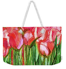 Weekender Tote Bag featuring the mixed media Tulip Bloomies 4 - Red by Carol Cavalaris