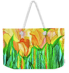 Weekender Tote Bag featuring the mixed media Tulip Bloomies 4 - Yellow by Carol Cavalaris