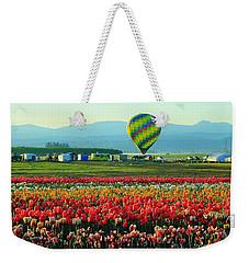 Tulip Field And Hot Air Balloon Weekender Tote Bag