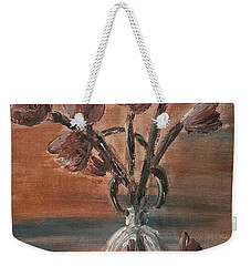 Tulip Flowers Bouquet In Two Round Water Filled Small Globe Shaped Vases On A Table Still Life Of Bo Weekender Tote Bag