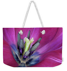 Weekender Tote Bag featuring the photograph Tulip Intimacy by David and Carol Kelly
