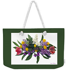 Weekender Tote Bag featuring the digital art Tulip Lilac And Dandelion Bouquet by Lise Winne