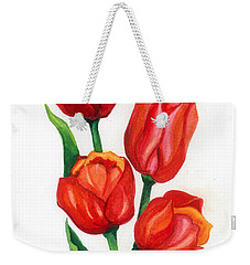 Weekender Tote Bag featuring the painting Tulip Time by Barbara Jewell
