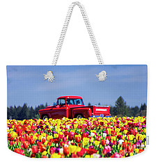 Tulips And Red Chevy Truck Weekender Tote Bag