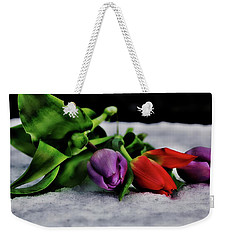 Tulips And Snow Weekender Tote Bag
