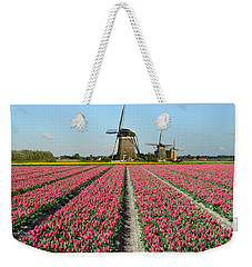 Tulips And Windmills In Holland Weekender Tote Bag by IPics Photography