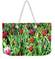 Weekender Tote Bag featuring the photograph Tulips Blooming by D Davila