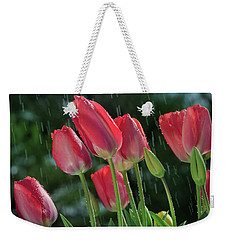 Weekender Tote Bag featuring the photograph Tulips In The Rain by William Lee