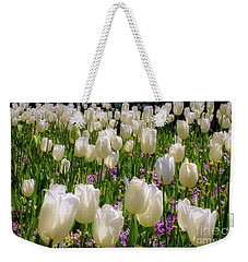 Weekender Tote Bag featuring the photograph Tulips In White by D Davila