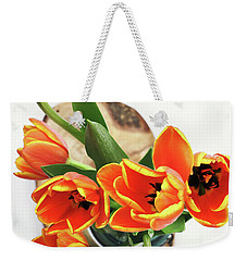 Weekender Tote Bag featuring the pyrography Tulips by Stephanie Frey