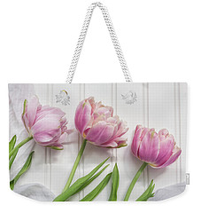 Weekender Tote Bag featuring the photograph Tulips Three by Kim Hojnacki